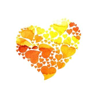 Акварельные иллюстрации сердечки из желто-оранжевых сердец праздничная открытка на день святого валентина