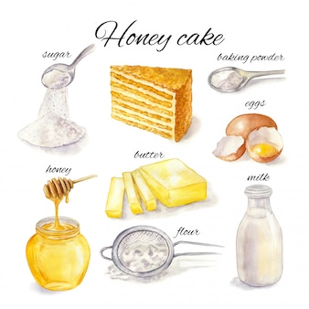 Watercolor illustration of honey cake and baking ingredients on a white