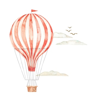 Watercolor illustration. hot air balloon in the sky. background with retro airship, clouds and birds