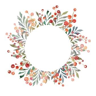 白い背景の葉と赤いベリーサークルフレーム花輪に分離された水彩イラスト