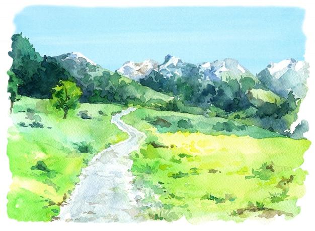 A watercolor illustration of a landscape