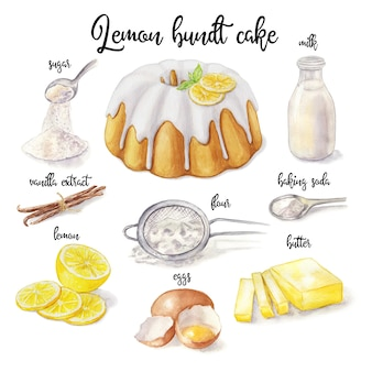Watercolor illustration of lemon cake