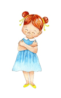 Watercolor illustration of a little redhaired girl in a blue dress and yellow shoes hugs herself