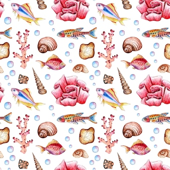 Watercolor illustration of a marine pattern of fishes seashells corals bubbles seamless repeating