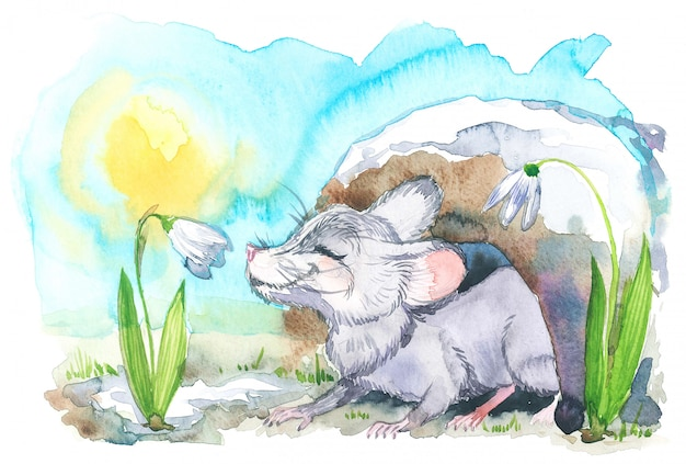 Watercolor illustration of mouse sniffs a snowdrop in spring