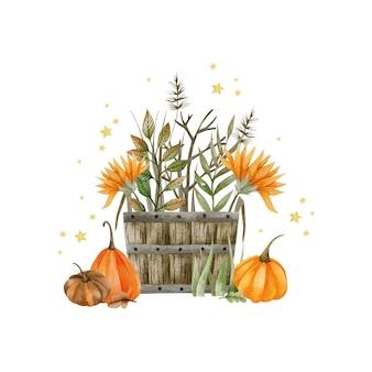 Акварельная иллюстрация бочки с тыквами осенние растения праздник хэллоуин привет октябрь