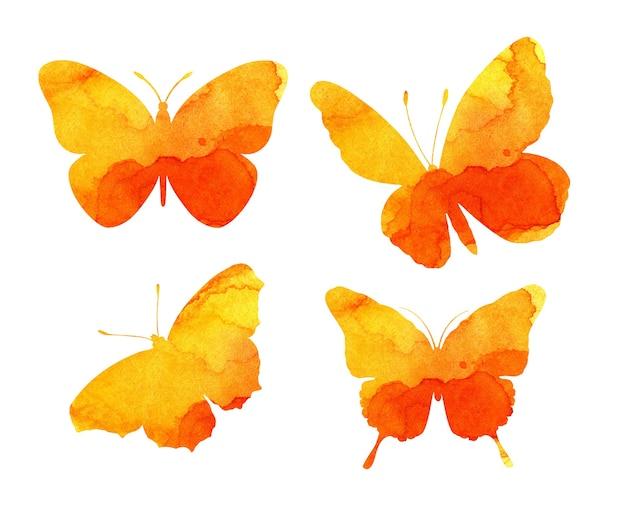아름 다운 주황색 나비 물개의 수채화 그림. 곤충의 trapholes. 수채화 얼룩, 나방 모양의 얼룩. 흰색으로 격리.