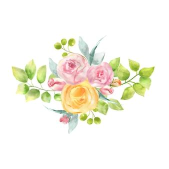 장미, 잎 및 열매의 꽃다발의 수채화 그림.