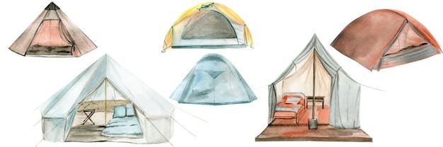 Акварельные иллюстрации палатки для кемпинга. идеально подходит для логотипа.