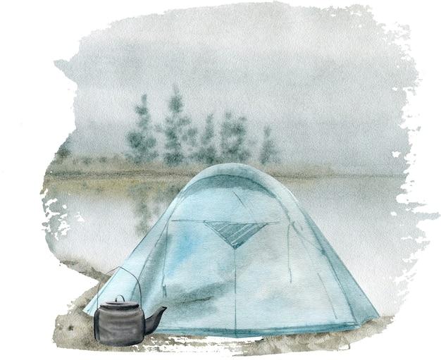 Акварельная иллюстрация палатки для кемпинга
