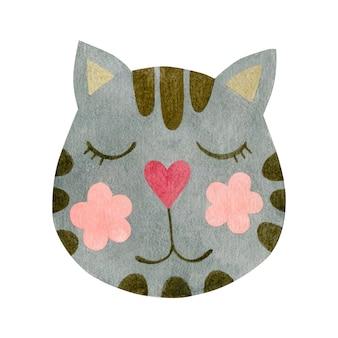 흰색 배경에 고립 된 고양이 얼굴의 수채화 그림