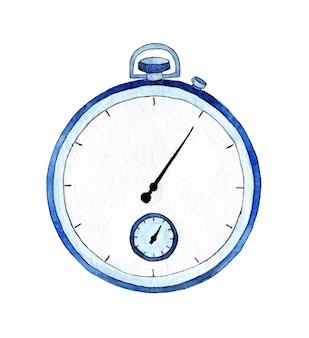 Акварельная иллюстрация классического часового таймера. символ экспресс-обслуживания, скорость, концепция крайнего срока. ручная роспись акварелью схематичный рисунок. изолированные на белом. нарисовано от руки.