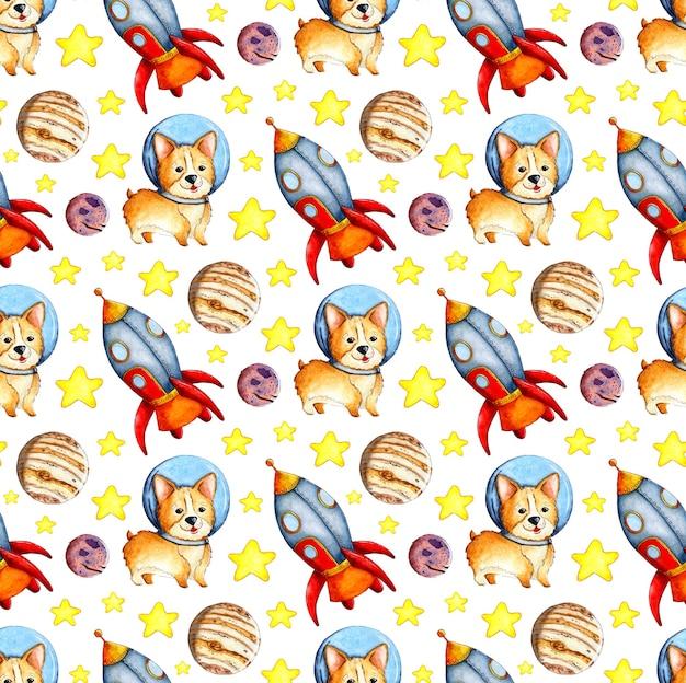 宇宙惑星ロケットと星のコーギーパターンの水彩イラスト