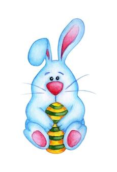 그려진 된 달걀을 들고 귀여운 파란색 부활절 토끼의 수채화 그림. 아이들을위한 토끼와 계란 그리기. 부활절, 종교, 전통. 흰색 배경에 고립. 손으로 그린.