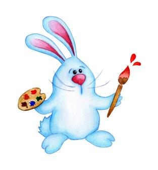 팔레트와 그의 발에 브러시와 귀여운 파란색 부활절 토끼의 수채화 그림. 아이들을위한 토끼 예술가 그리기. 부활절, 종교, 전통. 흰색 배경에 고립. 손으로 그린.