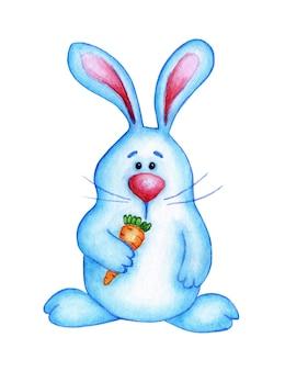 그것의 발에 당근을 들고 귀여운 부활절 토끼의 수채화 그림. 큰 코를 가진 만화 캐릭터 파란 토끼. 부활절, 전통, 종교. 흰색 배경에 고립.
