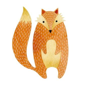 흰색 배경에 고립 된 여우 새끼의 수채화 그림