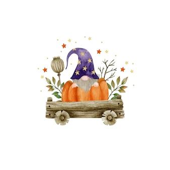 Акварельная иллюстрация гнома в тележке осенних растений праздник хэллоуина привет октябрь