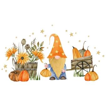 Акварельные иллюстрации гнома деревянная тележка деревянная бочка тыквы и осенние растения