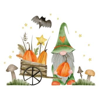 Акварельная иллюстрация деревянной тележки лепрекона с тыквами хэллоуин привет октябрь осень Premium Фотографии