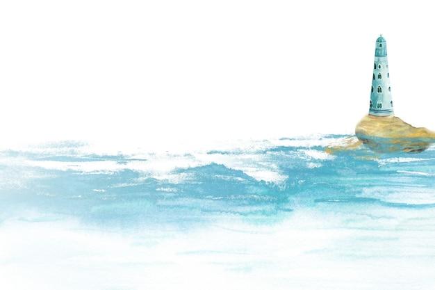 Акварельная иллюстрация маяка, стоящего на скале в море или океане среди волн