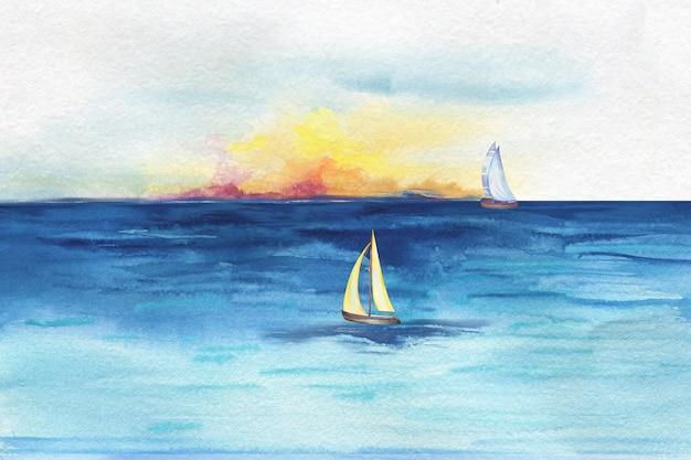파도 사이에 바다 또는 바다에있는 바위에 서있는 등대의 수채화 그림