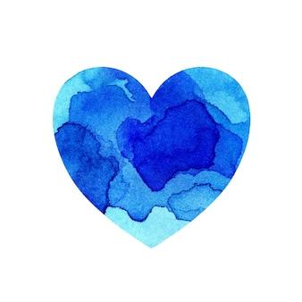 青いペンキの斑点と色合いと色とりどりの心の水彩イラスト
