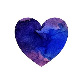 Акварельная иллюстрация разноцветного сердца с пятнами и оттенками сиреневой и синей краски