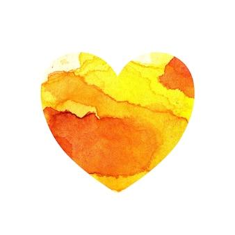 Акварельная иллюстрация разноцветного сердца с пятнами и оттенками оранжевой краски