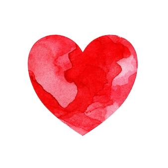 Акварельная иллюстрация разноцветного сердца с пятнами и оттенками красной краски
