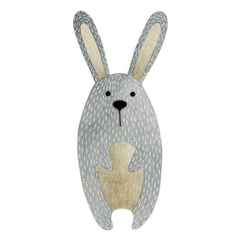 흰색 배경에 고립 된 토끼의 수채화 그림
