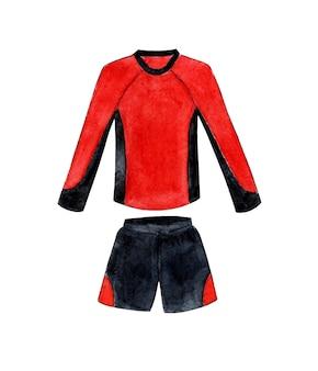 Акварельная иллюстрация красно-черной футбольной формы с длинными рукавами спортивная футболка и шорты