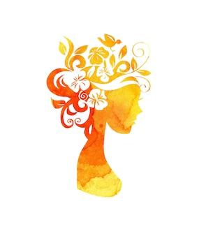 彼女の髪に黄色い斑点のある花を持つ少女のシルエットの水彩イラスト