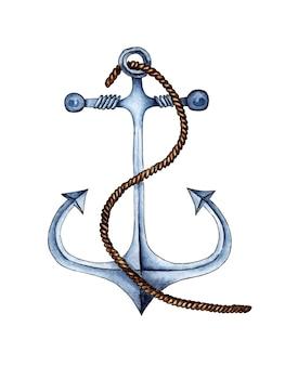 배를 유지하기 위한 로프 항목이 있는 빈티지 해상 앵커의 수채화 그림