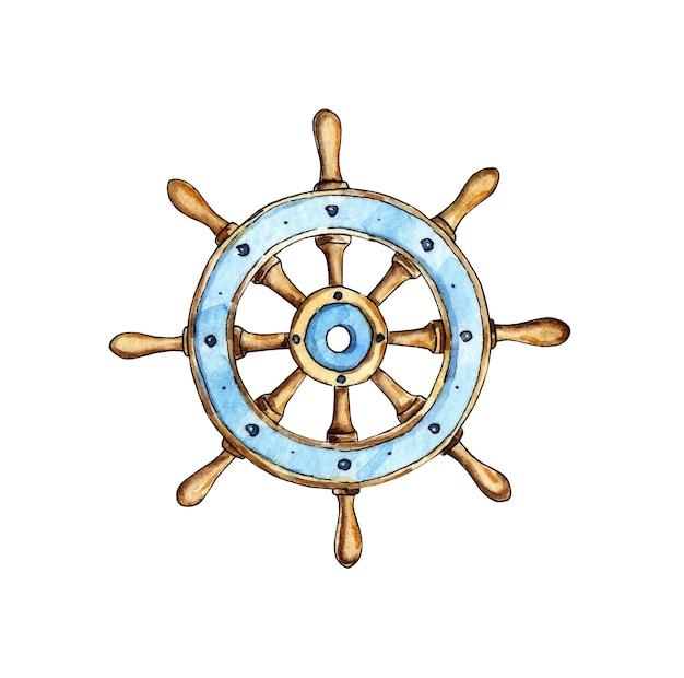 빈티지 나무와 배 바다 항해 항해의 스티어링 휠의 수채화 그림
