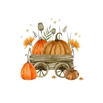 Акварельные иллюстрации деревянной тележки с тыквами осенние растения праздник хэллоуина
