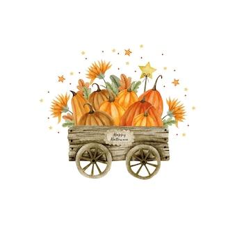 Акварельная иллюстрация деревянной тележки с тыквами хэллоуин привет октябрь осень