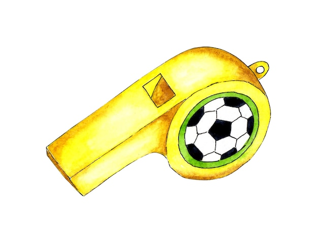 축구공 스포츠 호루라기 또는 송풍기가 있는 노란색 스포츠 호루라기의 수채화 그림