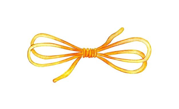 뜨개질을 위해 활 모사에 묶인 노란색 실의 수채화 그림