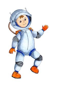 Акварельная иллюстрация космонавта, совершающего космическую прогулку