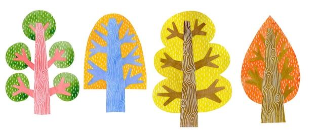 白い背景で隔離の秋の木の水彩イラスト