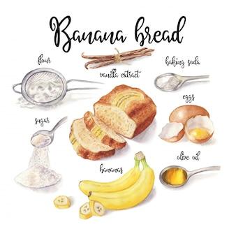 白で隔離されるバナナのパンの水彩イラスト。