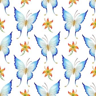 Акварельные иллюстрации голубой бабочки и красный цветочный узор бесшовные повторяющиеся насекомые печати