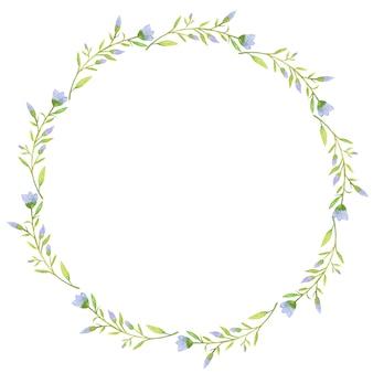 青い花の輪の水彩イラスト