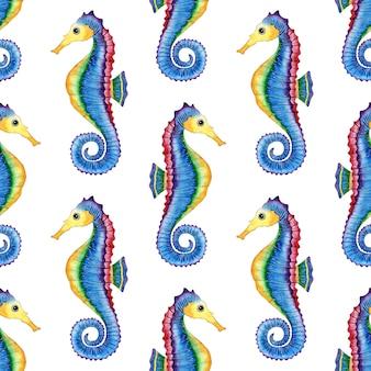 青いタツノオトシゴのパターンの水彩イラストシームレスなセーリング海洋生物のプリント海洋居住者