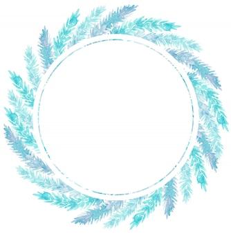 クリスマスの水彩イラストは、青い枝で作られた花輪をラウンドします。