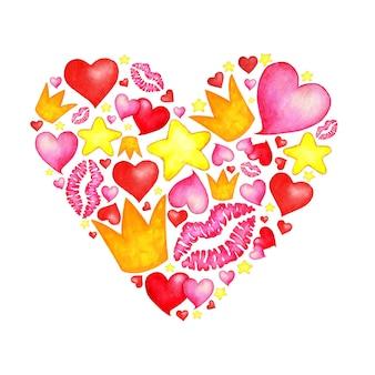 ハート型の落書きの水彩イラスト。王冠、ピンクと赤のハート、キスの唇の刻印と星。バレンタイン・デー