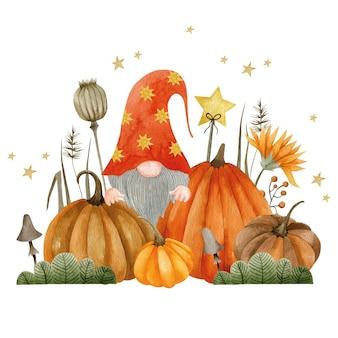 Акварельная иллюстрация гнома в тыквах праздник хэллоуина привет октябрь осень
