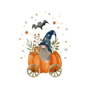 Акварельная иллюстрация гнома в тыквенной тележке праздник хэллоуина привет октябрь осень