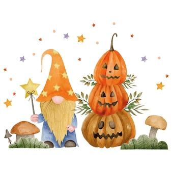 Акварельные иллюстрации гномов-тыкв и осенних растений праздник хэллоуина привет октябрь